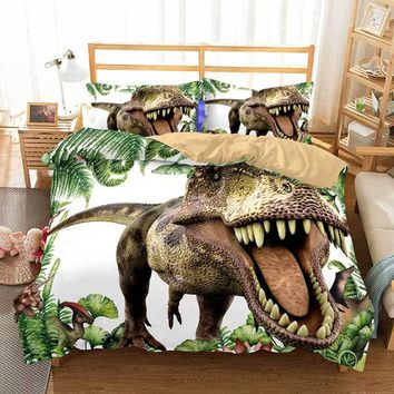 Cool Cilected 3D Dinosaur Duvet Cover Set 2/3Pcs With Pillowcases King Queen Bedding Size Animal For Kids Bedroom BedspreadsAT_93_12