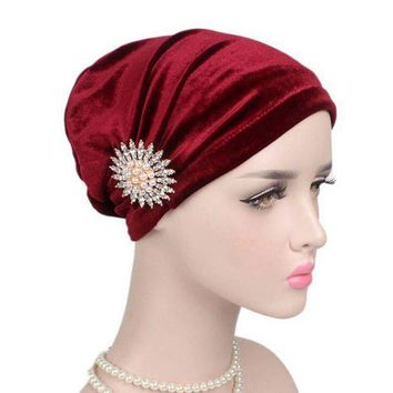 ICIKION Women Cancer Chemo Hats For Women with cancer Beanie Turban Head Wrap Cap Velvet Headwear Bandana headscarf Tichel