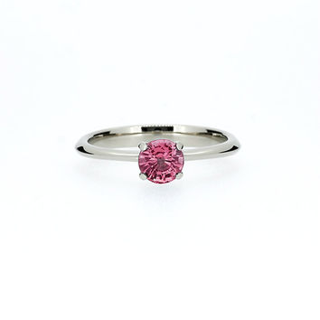 Pink tourmaline solitaire engagement ring, white gold, pink tourmaline wedding, thin engagement ring, unique, simple, pink wedding ring