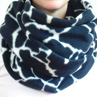 Fleece Infinity Scarf, Black & White Scarf, Oversized Scarf, Animal Print, Big Chunky Scarf, Fleece Scarf, Back to School, Giraffe, Gift