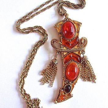Scimitar Sword Glass Amber Cabochon Pendant Necklace, Tassels, Gold Tone, Vintage