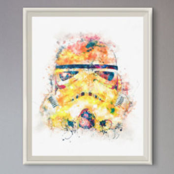Stormtrooper Watercolor Art - Star Wars Poster - art print , home decor , wall art star wars helmet