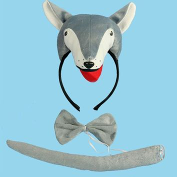 2017 New 3D Wolf Animal Ears Headband Bow Tie Tail Cosplay Costumes Set For Kids Adults Halloween Carnival Party Favor Gift