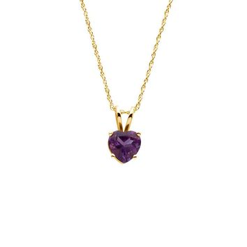 6mm Amethyst Heart Rope Chain Necklace in 14k Yellow Gold, 18 Inch