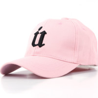 Pink U Embroidered Sports Sun Hat Baseball Cap