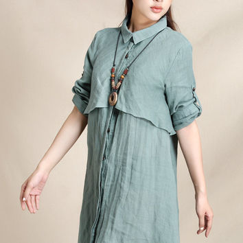 Elegant trench style short linen shirt dress (ESR126)