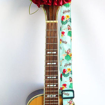 Ukulele strap (ribbon lei flower included)/ Mint green hula girl B / hawaiian fabric /ukulele accessory / instrument strap