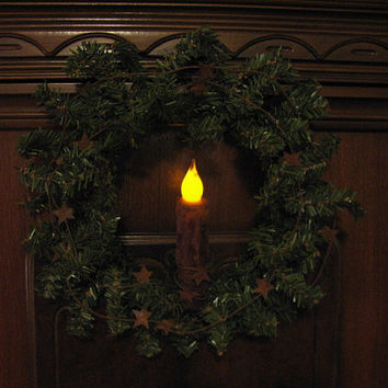 Lighted Primitive Pine Wreath Pantry Door or Window Wreath pine wreath grubby battery candle rusty stars Christmas Decor