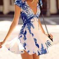 CUTE V PRINTED SLEEVELESS DRESSES