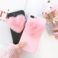 3D Fuzzy Heart Phone Case