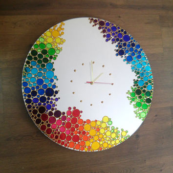 Big Rainbow Bubbles  Mirror Wall Clock, Hand Painted big wall clock