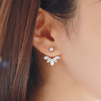 Fashion Earing Big Crystal Rose Gold Silver Ear Jackets High Quality Stud Earrings For Women
