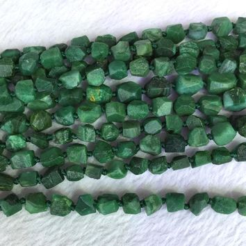 Natural Genuine Raw Mineral Dark Green South Africa Jade Hand Cut Nugget Free Form Loose Rough Matte Faceted Beads 6-8mm 05368