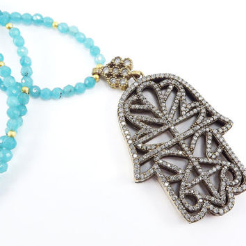 Hamsa Hand of Fatima Rhinestone Necklace Aqua Blue Jade Stone Gemstone Statement Gypsy Hippie Bohemian Artisan - One Of A Kind