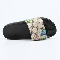 Gucci Trending Print Flower Women Slipper Floral Flag Slippers B104468-1 2#