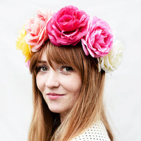 Large Colorful Rose Crown - Multi-Colored Rose Headdress, Rose Flower Crown, Floral Crown, Festival Headpiece, Pink Rose, Flower Headband