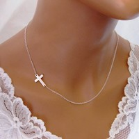 Sideways Cross Necklace Off Center Sterling Silver Celebrity - Wedding Jewelry | Handmade Jewelry |