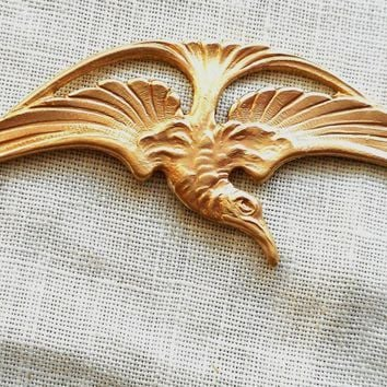 "One raw brass stamping, Victorian, Art Deco, Art Nouveau, flying bird, pendant, charm, connector, 2.75"" x .75"" USA made, C9901"