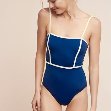 New summer fashion solid color straps one piece bikini swimsuit Blue