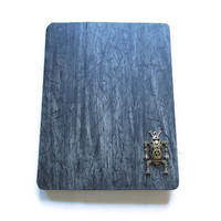 Slim Black Wood Grain iPad 2/ iPad 3 case with folding design/ Antique Vintage Robot- Free Shipping