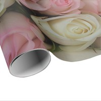 Beautiful Pink White Roses Flower Bouquet Floral Wrapping Paper