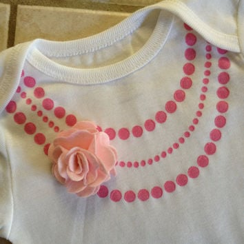 Cute baby girl gift fashion faux pearl Necklace Onesuit, pink with pink flower, Different size Onesuits available. Great for Easter Photos