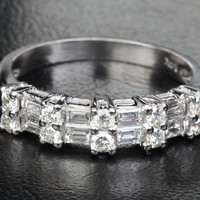 Baguette / Round Diamond Wedding Band Half Anniversary Ring 14k White Gold Double Rows Channel Set 1.12ct
