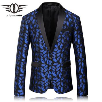 Blazer Men Royal Blue Men Blazer Slim Fit Men Stage Wear Fashion Printed Wedding Blazers Male Floral Suit