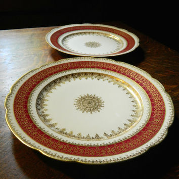 Pair of GDA Limoges Vintage China Plate - Ornate Red and Gold Design with Center Medallion - Made by Gerand, Dufraisseuix, Abbot