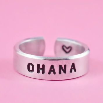 OHANA - Hand Stamped Aluminum Cuff Ring, Family Ring, Aerial Font