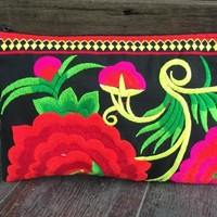 Gypsy Boho Flowers Embroidery Clutch Retro Wristlet Wallet Purse bag Hippie Festival accessory bag Ipad Tablet bag Gift for Her women Vivid