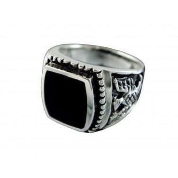 925 Sterling Silver Mens German Iron Eagle Black Onyx Thick Ring 13gr