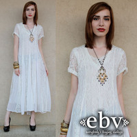 White Hippie Dress Lace Dress Vintage 90s White Lace Maxi Wedding Dress S M