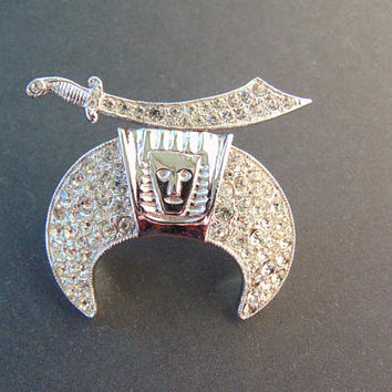 Stunning ORA signed Vintage Mason Shriners Crescent with Sword Rhinestone Brooch