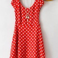 Vintage High Waist Dot Dress