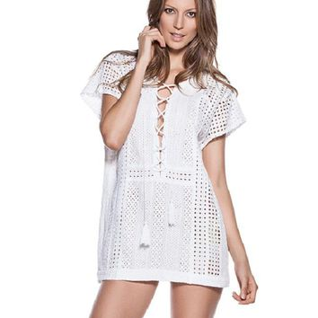 Miranda Cotton Eyelet Tunic - White