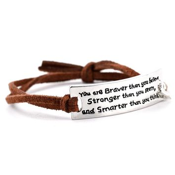 "Inspirational quote leather bracelet ""You are braver than you seem"""