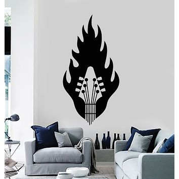 Vinyl Wall Decal Music Fire Guitar Strings Musical Instrument Stickers Mural (g2744)