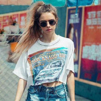 ESBON Women Personality Hollow Pin Collar Letter Pattern Print Loose Short Sleeve T-shirt Crop Tops