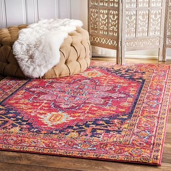 20022 Pink Medallion Colorful Persian Oriental Area Rugs