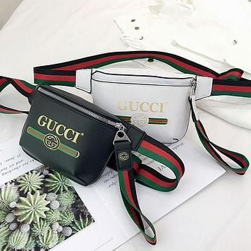 GUCCI tide brand men and women fashion letters graffiti zipper waist bag chest bag diagonal package