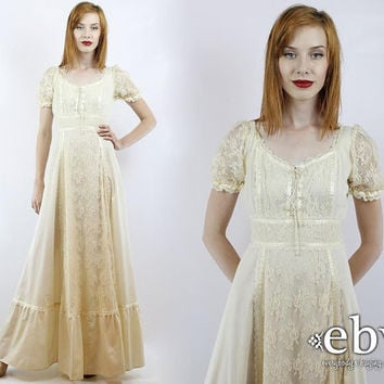 Vintage 70s Cream Crochet Lace Dress S M Hippie Wedding Hi