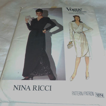 Woman's Semi-Fitted Dress, Uncut Pattern, Size 14, Nina Ricci Paris Original, Vogue Sewing Pattern 1074