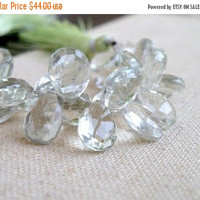Super SALE Outstanding Green Amethyst Prasiolite Gemstone Briolette Faceted TearDrop Pear 13 to 14mm 11 beads