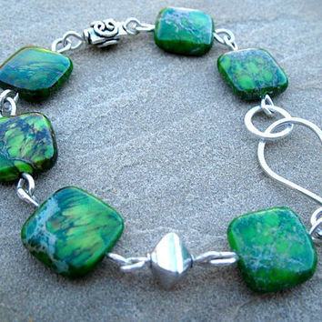 Green Jasper Bracelet, Sterling Silver Jewelry