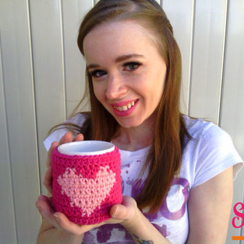 Crochet Valentines Day Pink Heart Buttoned Coffee Tea Mug Cup Home Decor Cozy Gift, Ready to Ship