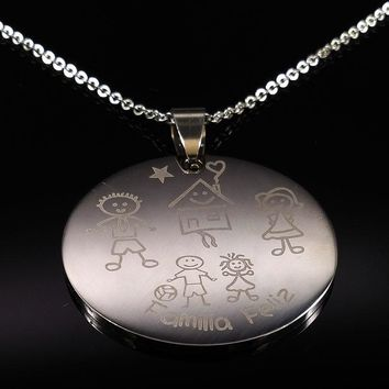 Mama Son Silver Color Stainless Steel Necklaces for Women Kid Family Statement Necklace Jewelry collares N166265B