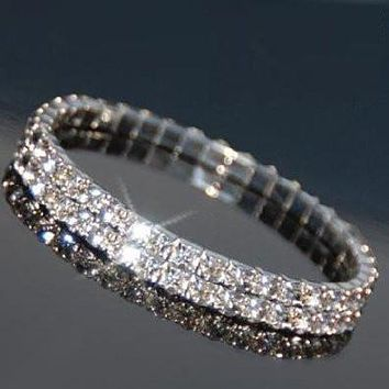 Austrian Crystal Bracelet in White Gold Overlay with Swarovski Elements  - (Double Row)