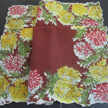 Vintage Ladies Hankie Autumn Mums Chrysanthemums