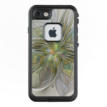 Floral Fantasy Modern Fractal Art Flower With Gold LifeProof® FRĒ® iPhone 7 Case